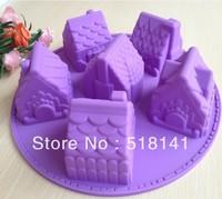 Min order $15 (mix order) Free shipping 1PCS House Fondant Cake pan Silicone Mold Sugar craft Baking Pan Cake Decoration