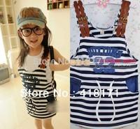 2014NEW summer children clothes fashion girls dress kid stripe suspender dress/overalls navy blue girl jumpsuits free shipping