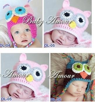 Free  Cartoon Designs 100%Cotton Handmade Children Crochet Hats Various Animal Styles Baby Owl Beanie hat Kids Flower cap