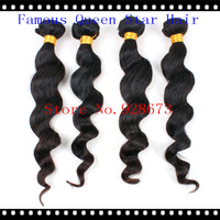 "Grade 5A Virgin Malaysian Human Hair Weave loose Wave Mix Length 4 pcs Lot 12""-28"" Natural Unprocessed Color #1B Free Shipping"