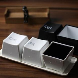 Creative gift present Novelty Cup,3 x Keyboard Coffee Tea Cup,Plastic button Mug Cup Set(China (Mainland))