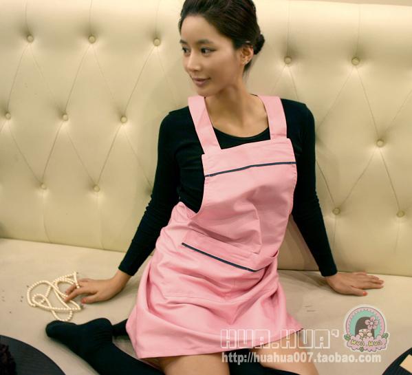 Aprons - - pink fashion brief paragraph of milk tea powder shop services(China (Mainland))