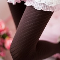 Autumn and winter oblique stripe socks plus size velvet pantyhose legging stockings female