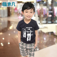 Sunfed children's clothing child summer male 2013 top child casual 100% cotton t-shirt child V-neck short-sleeve