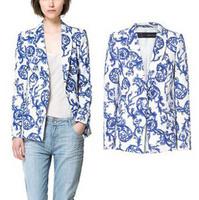 New European 2013 Autumn Fashion Designer Brand Women Jackets And Blazers Casual Retro Ceramic Printing Women's Suits Jacket