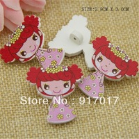 Free Shipping 50pcs Lovely girl Brooch sweater pure wood self-shade decorative pattern cute button (AYa30b33x01))