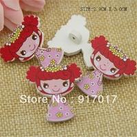 Free Shipping 50pcs Lovely girl Brooch sweater pure wood self-shade decorative pattern cute button (AYa30b33x01))