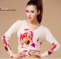 2013 autumn new women shopping girl prints long sleeve V-neck cardigan sweater coat Women
