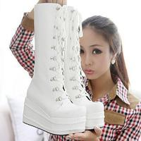 big sale  ladies boots .thick heels Shoes.half boots. punk women's shoes. black/white lace-up boots  lb1047
