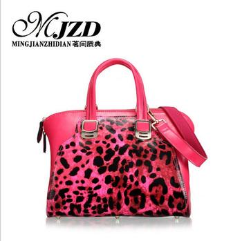 Fashionable casual women's handbag leopard print cute bags advanced female cowhide cross-body high quality  designers brand