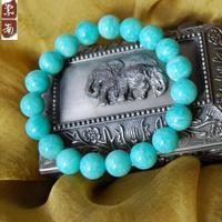 Natural blue topaz stone amazonstone 10mm beads bracelet