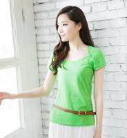 Women Fashion Half Open Neck Short Sleeve Button Decor  Collar Sashes Slim Waist Solid T-shirt  Free Shipping A425C-1826
