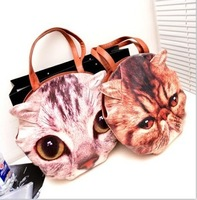 FreeShipping 2013 fashion handbag Lady's Shoulder Bags women's bag Cartoon cat head cat face very real lovely birthday gift