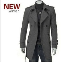 2013 New Winter Men's Trench Coat Long Double Brest Winter Jacket For Men Black Grey Color M L XL XXL XXXL Free Shipping