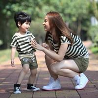 Summer Children's Clothing Family Pack Stripe T-Shirt Shorts Set