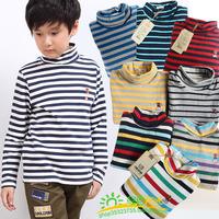 2 children's clothing male child cotton sweater big boy 100% basic cotton turtleneck shirt child underwear single tier