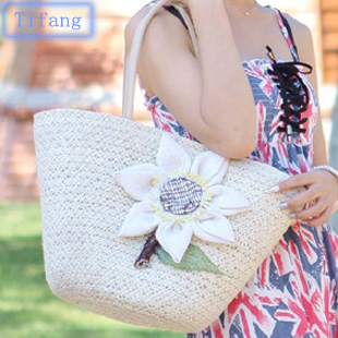 3 2013 linen crocheted sunflower rattan straw bag business casual gentlewomen beach bag(China (Mainland))