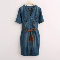 Brand Newest Vintage Fashion Women's Denim Dress,Popular V-Neck Ladies' jeans casual Dresses plus sizes ,Free shipping WJD