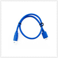 Free shipping Premium Quality Blue 50CM USB 3.0 A Male to Micro B Male Cable