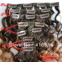 14inch 8PCS /Set Brazilian remy curl weft  Full Head Clip in Hair Extensions tone 2 color deep wave  Free Shipping