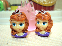 12 PCS Princess Sofia Girl Flat Backs Resin Flatbacks  for DIY phone hair decoraction Craft BOW
