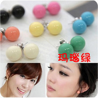 free shipping hot sell women fashion lovely jewelry cheap candy color ball stud earrings plastic ear 240