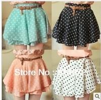Best selling!Women chiffon culottes dot pattern Elastic waist shorts pantskirt Free Shipping
