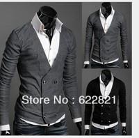 Free Shipping Men's Knitwear Cardigan Fake Pocket Design Slim Casual Sweater Coat S M L XL Wholesale