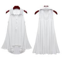 New Fashion Lady Sleeveless Loose Shirt Lace Back Irregular Hem Blouses Tops White Black