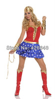 Free Shipping Classic Halloween Costumes 1 set  cosplay Sexy Lingerie Wonder Woman Indians Clothing