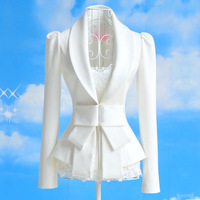 Plus Size Classic European Design White Big Bow Patchwork Slim Long Suit coats  Lady's Elegant Solid Pleated Formal Blazer