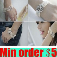 Fashion Bangle Four Layer Pearl Silver Crystal Rhinestone Rose Flower Stretch Bracelet Free Shipping 3pcs/1lot