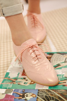 Mhocity 13 vintage british style pink gold flat pointed toe single shoes flatbottomed women's shoes