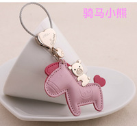 Cartoon bear women's horse keychain car keychain key ring