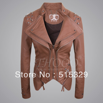 THOOO brands women's lady Sexy Punk  fashion metal rivets brown Faux pu leather motorcycle jacket  coat Wholesale oem fob size