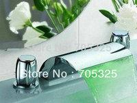 Brand new Deck Mounted LED Waterfall Bathroom Bathtub Basin Sink Mixer Tap Faucet Set  Z007