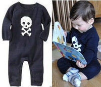 2013 spring and autumn clothing handsome personality skull long-sleeve bodysuit romper open-crotch romper c54