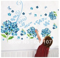 Wholsale Blue Flowers  Large removable wall sticker,Photo wall,the television background wall ,Safe non-toxic,Free shipping