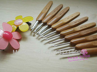 "Free Shipping Bamboo wooden Handle & Metal Crochet Hook Knitting Needles 5"" 8 pcs 1.0-2.75mm"