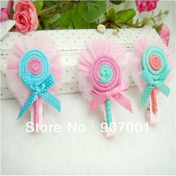 Free Shipping Children Hairpin Lace Bow Lollipop Children Hair Accessories Headdress Duckbill Clip XM-82