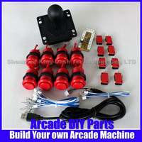 New Arcade DIY Accessories Zero Delay USB Encoder PC to Joystick + 1 x America Style Joystick + 8 x Push Buttons For MAME Games