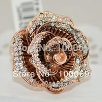 Fashion 18K Rose Gold Flower Ring Crystal Finger Ring Female R3276