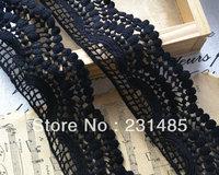 "Wholesale Lace Trim Black Cotton Trim Wedding Trim Handmade 2.36"" width 10 yards/lot"