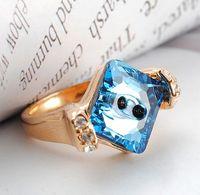 Free shipping Austria crystal elegant blue crystal ring finger ring