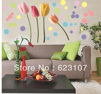 Wholsale 3D The Tulip Large removable wall sticker,Photo wall,the television background wall ,Safe non-toxic,Free shipping