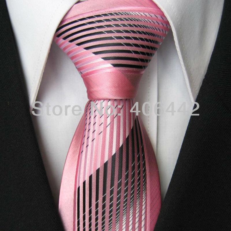 Black Shirt Pink Tie Yibei Coachella Men 39 s Ties Pink Border Silver With Black Stripes Microfiber