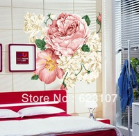 Wholsale The Chinese Peony Large removable wall sticker,Photo wall,the television background wall ,Safe non-toxic,Free shipping