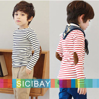 Fashion Long Sleeve Tshirt  Kids Autumn New Tops Boys Striped Tees Baby Girl Patches Pullovers,Free Shipping  K2084