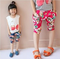 free shipping 2013 summer female child big flower hanging crotch pants harem pants knee-length pants child trousers