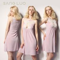 Mulberry silk sexy cutout lace summer home clothing female spaghetti strap sleepwear silk nightgown